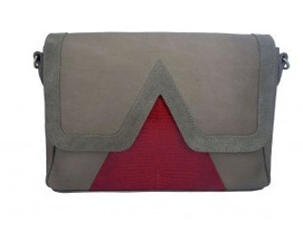 Bag graphics 'V' and Red suede and lizard taupe leather
