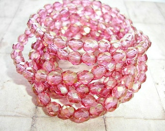 10 Golden Fuchsia Pink Faceted Fire Polished Beads 6 mm