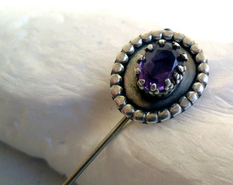 ANTIQUE Cravat Stick Hat Pin~AMETHYST~ Royal Crown STERLING ~ Estate Piece -- Natural Deep Purple Gemstone-- Hand Crafted *Estate Treasure*