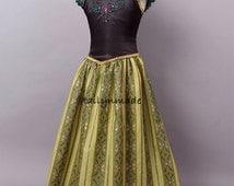 New Toddler Girl Character Inspired Frozen Anna Coronation Costume Birthday Dress
