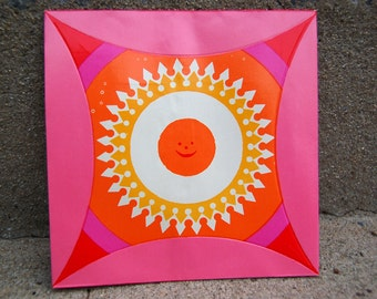 Rare LA FONDA del SOL Paper Plate - Sun plate by Alexander Girard - 1962 - Great Iconic Piece - Ready to Frame