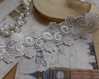 2 Yards Delicate Flower Embroidered Lace Venise Lace Trims Craft For Sewing