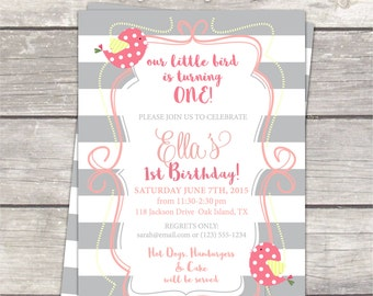 Girls first Birthday Party Invitation / grey stripes, pink, yellow with birds / custom printable digital invite