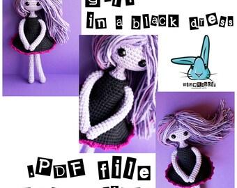 PDF file crochet pattern - crochet amigurumi doll in a black dress