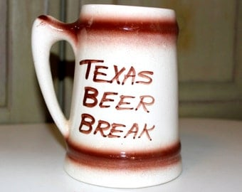 Large Beer Mug Vintage Souvenir Beer Stein Bigger in Texas Oktoberfest Vintage Souvenir Collectible Texas Southwest Beer Break Stein Cup