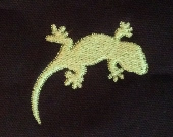 Simple gecko or little lizard machine applique and embroidery designs in several sizes and styles