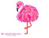Preppy Flamingo clip art, pink and orange - Original Art download, whimsical flamingo, preppy clip art