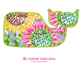 Preppy Whale with Sunflowers Design clip art, whale clipart - digital clipart, nautical clipart, watercolor clipart