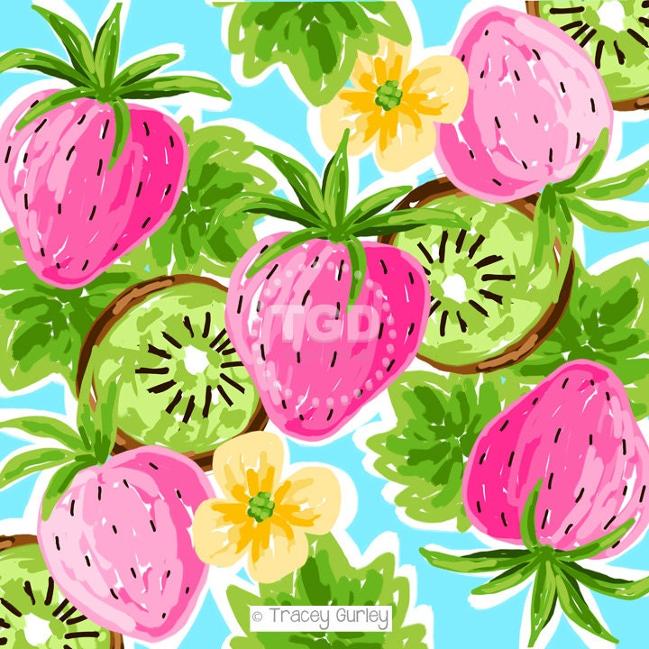 preppy strawberry kiwi pink green and turquoise digital