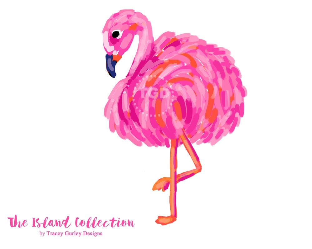 Preppy Flamingo clip art pink and orange Original Art