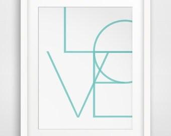 Turquoise Art, Geometric Blue Prints, Teal Wall Prints, Love Art, Turquoise Wall Prints, Geometric Wall Art, Printable Decor