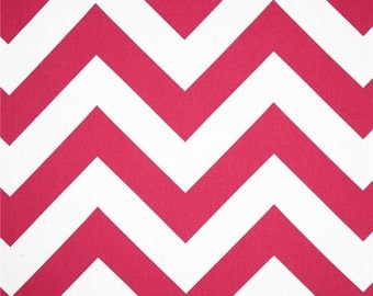 HUGE SALE - Premier Prints Zippy Candy Pink Fabric - Pink and White Large Chevron Fabric - Fabric by the 1/2 yard