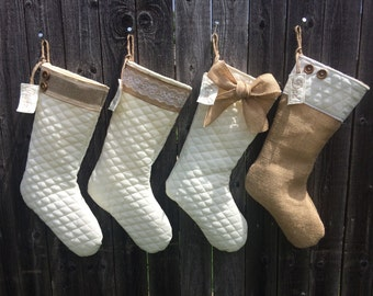 3 PERSONALIZED Quilted and Burlap Stocking, burlap stocking, quilted stocking, shabby chic, burlap, quilted, cream and tan, stocking