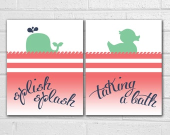 Splish Splash I was Taking a Bath Print - Splish Splash Sign - Splish Splash Birthday Party - Kids Bathroom Decor - Kids Bathroom Art