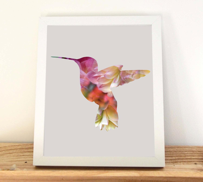 Hummingbird Print Wall Art Home Decor Girls Bedroom Decor