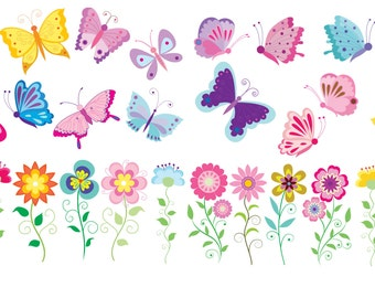 Butterflies and Flowers Removable Repositionable Fabric Wall Decal Stickers 28 Piece Set