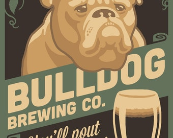 Bulldog - Retro Stout Beer Ad (Art Prints available in multiple sizes)