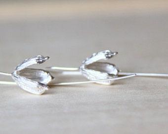 Sterling Silver Seed Pods Earrings. Plant Earrings