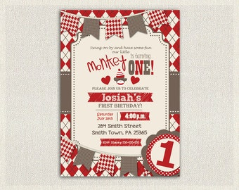 SOCK MONKEY INVITATION Boys 1st Birthday Invite Red Brown Monkey Invite First Birthday Monkey Party 2nd 3rd 4th 5th