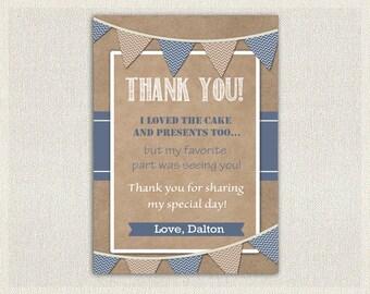 Boys Blue Thank You Card / Printable Download / Birthday Thank You Note / Boys Birthday
