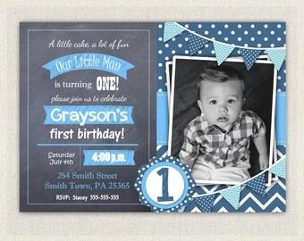 Boys Blue Chalkboard Invitations 1st 2nd Birthday Invitation / Download / Birthday Photo Invitation Invites Bunting / DIY Digital