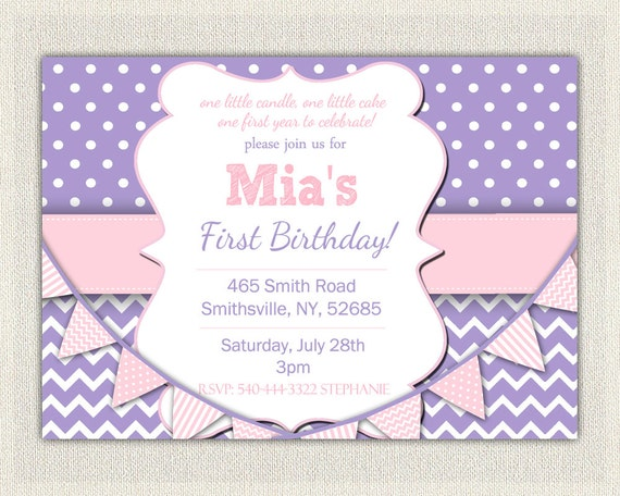 St Birthday Invitation Purple And Pink Girls Purple Birthday - 1st birthday invitations girl purple