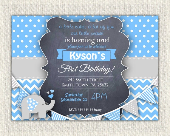 Elephant boys blue grey 1st birthday invitation download first il570xn filmwisefo Image collections
