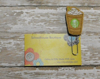 Chocolate Chip Frappe Coffee felt paperclip bookmark, felt bookmark, paperclip bookmark, feltie paperclip, christmas gift, teacher gift
