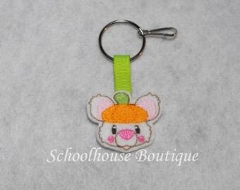 Pumpkin Mouse Felt Zipper Pull, Felt Keychain Fob, Felt Key Ring, Felt Key Fob, Purse Accessory, Luggage Tag