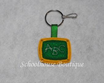 Chalkboard Felt Zipper Pull, Felt Keychain Fob, Felt Key Ring, Felt Key Fob, Purse Accessory, Luggage Tag