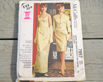 1963 Mc Calls  7057 Elegant Ladies Formal Gown and Jacket Pattern