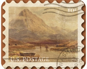 Mousepad-thick mouse pad-Vintage Postage Stamp River With Mountains - Free Shipping