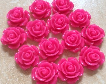 10 pcs 16 mm cabochon Flower,Hot Pink,16 mm pink rose cabochon,16 Hot Pink flower,Hot Pink cabochon flower,flower kit, salmon rose flower,