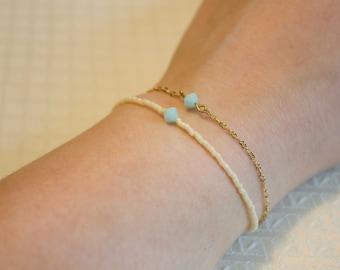 minimalist double bracelet with swarovski accent