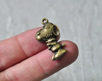 12pcs Antique Bronze Dog Charm Pendant Puppy Pendant 17x29mm PP883