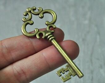 6pcs Antique Bronze Large Key Charm Pendant 30x69mm PP972