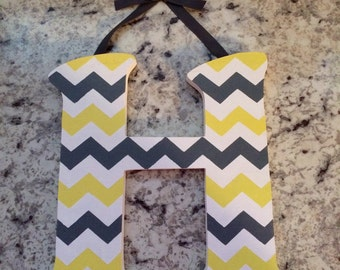 Nursery Wall Letters M2M Chevron Zig Zag Yellow Gray Bedding Decor Name Personalized Room Art