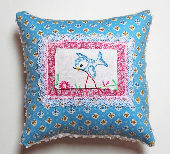 Shabby Chic Blue Pillows : Blue Bird Pillow Embroidered Shabby Chic Sparrow Cottage