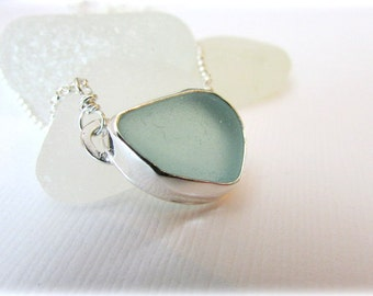 Sea glass necklace. Sterling silver necklace. Bezel setting. Maine jewelry. Sea glass pendant. Sea glass jewelry. Beach glass necklace