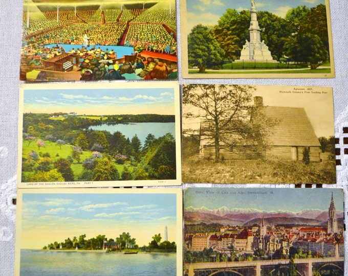 Vintage Postcard Set of 6 Switzerland Pennsylvania New York VariousTravel Souvenirs PanchosPorch