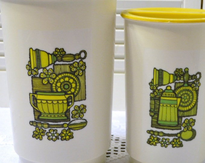 Vintage Canister set of 2 White Yellow Retro 1970s Plastic PanchosPorch