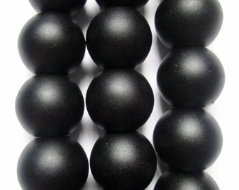 "Genuine Matte Black Onyx Beads - Round 8 mm Gemstone Beads - Full Strand 15"", 49 beads, AA Quality"