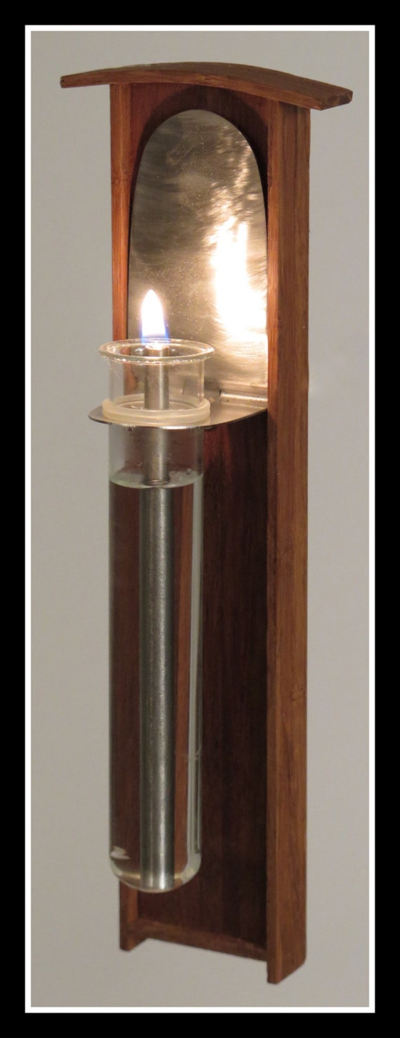 Oil Lamp candle sconce Bamboo Glass and Stainless Steel Wall