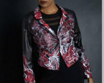 Red Black And White Graffiti Blazer
