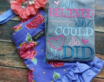 She believed she could so she did embroidered tank. Made to match matilda jane barnyard shorties