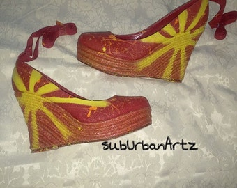 Hand painted wedge shoes/Sun rising sz 10