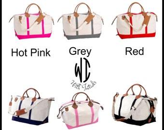 Monogrammed Weekender Canvas Tote Bag Bags  - Bridal party or Bridesmaid's Gift - Teacher - Sorority - Beach Bag  Pink, Black, Gray