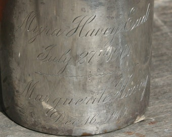 Antique Sterling Silver Cup dated 1904 Inscription Eads Havey Gift