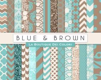 Blue and Brown Digital Paper. Digital brown and teal patterns, Instant Download for Commercial Use. chevron, polkadots, glitter.