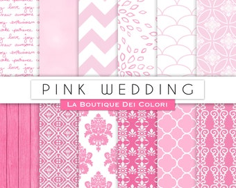 Pink wedding digital paper, Bridal patterns for wedding invite, save the date cards, scrapbooking  Commercial Use floral, lace.